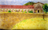 Spanish mission in watercolor by Christine Boyce